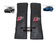 "2x Seat Belt Covers Pads Leather ""S-line"" Embroidery For Audi S-line Edition"