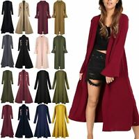 Ladies Crepe Bell Ruffle Frill Long Sleeve Open Front Midaxi Cardigan Duster Top