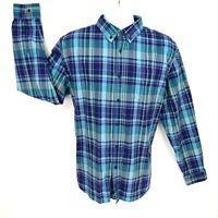 John Bartlett Casual Button Up Shirt Mens  L Blue Plaid Cotton Blend Long Sleeve