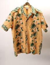 Mango Vintage HOWELL orange yellow Hawaiian Safari Button Shirt Tiki Men's Med