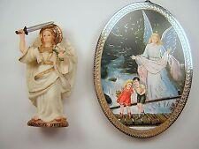 Childs Gift Archangel Uriel Statue & Guardian Angel Plaque Nino ángel de guarda