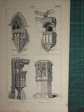 1845 ANTIQUE ARCHITECTURE PRINT ~ PULPIT BEAULIEU FRAMPTON DORSET FOTHERINGHAY