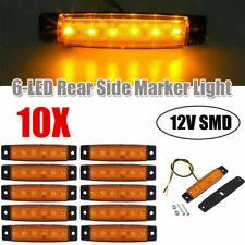 10x Amber 6LED Clearance Side Marker Truck Trailer Tail Light Van Waterproof 12V