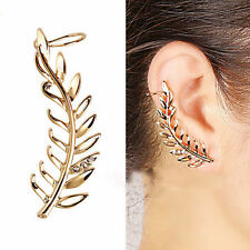 1pc Womens Leaf Shaped Gold Plated Crystal Decoration Earring Ear Clip Ear Cuff