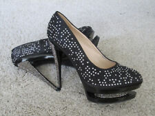 Plateau Pumps High Heels 40 Giaro - Schwarz Satin Strass Silber, Party Bühne NEU