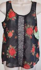 Cute! DOL Retro Chiffon Black & Red Rose Lace up the Front Top Shirt juniors XS