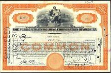 1930 Certificat d'action pour l'utilité publique Holding Corporation of America