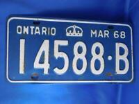 ONTARIO LICENSE PLATE 1968 MARCH 145 88 B CROWN CANADA  CAR SHOP GARAGE SIGN