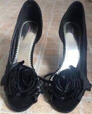 JASPER CONRAN Black Open Toe Flower Front High Heels Size 5