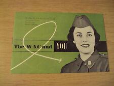 "VTG 1951 KOREAN WAR U.S. Army Recruitment Brochure~""The WAC and YOU""~Women~"