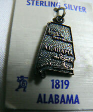 Streling Silver 925 ALABAMA US state Map Souvenir Charm Pendant