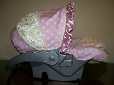 Infant Car Seat Cover - Ivory Rose and Pink