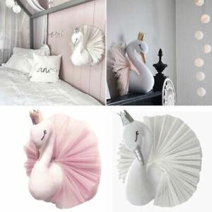 Girls Kids Room Wall Decor 3D Pink Crown Swan Animal Head Doll Hoom Decor Toy