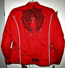 Speed & Strength Womans Motorcycle Textile Jacket Coat M Red Angel Wings Armored
