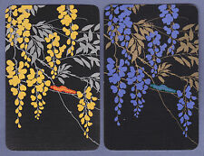 2 Single VINTAGE Swap/Playing Cards CATERPILLAR & WISTERIA FLOWERS Gold/Silver