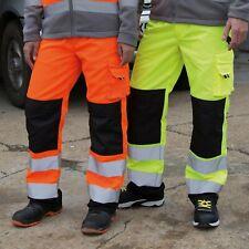 Pantaloni da lavoro ad alta visibilità MULTITASCHE con tasche per ginocchiere