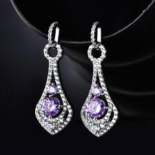HUCHE Luxury Purple Diamond Amethyst Silver Gold Filled Women Banquet Earrings