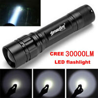 Tactical Flashlight Zoomable 30000LM 3 Mode T6 LED 18650 Camp Torch Lamp Light
