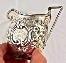 1804 George III Silver Cream Jug Trophy. 4th Durham Rifle Volunteers Prize 1863.