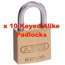 ABUS Padlock-Bulk Lot x 10 KEYED ALIKE Brass Padlocks -Free Post