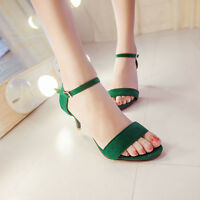 Hot Womens Stiletto Mid Heels Sandals Buckle Open Toe Casual Faux Suede Shoes
