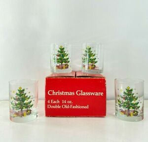NOS Vtg 80s Set of 4 Christmas Tree 14oz Double Old Fashioned Whiskey Glasses