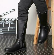 Men's Mid Calf Combat Boots Outdoor Zipper Knight Leather Military Riding Shoes