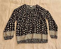 Bluse,Gr. 38,mehrfarbig: schwarz/weiß,100% Polyester,Langarm,Rundhals