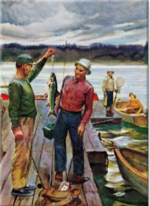 Fisherman weighing Fish Pier 2.5 x 3.5 Saturday Evening Post Art fridge Magnet
