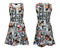 Unique Comic Strip Book Skulls Classic Vintage Retro Sleeveless Skater Dress