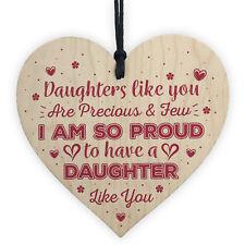 Daughter Thank You Handmade Wood Heart Chic Plaque Birthday Gift Keepsake Mum