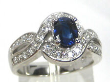 BLUE Sapphire Ring 18K white gold Pave Halo Royal Blue CERTIFIED Heirloom $5,982
