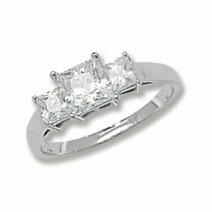 Sterling Silver Three Stone Ring Princess Engagement 925 Hallmarked Size K - S