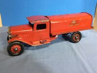 1930's Buddy L Tank Lines, Pressed Steel Toy, Gas Oil Tanker Truck w/ Lights