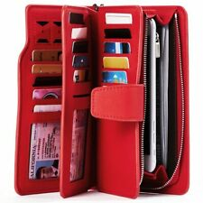Red Women Wallet Female Leather Wallets Leisure Trifold Large Top Quality Purse