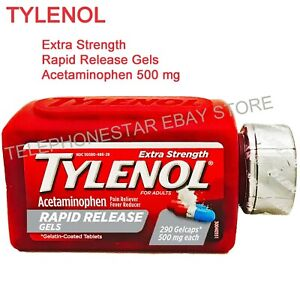 TYLENOL Acetaminophen Extra Strength Rapid Release 500mg 290Gelcaps EXP 10/22
