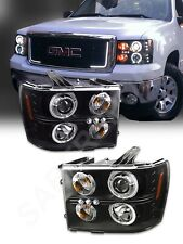 Pair Black Projector Headlights w/ Halo and LED Parking for 2007-2013 GMC Sierra
