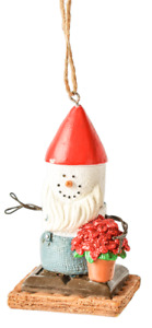 S'more Gnome with Flowers Ornament   Free Ship USA