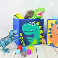 Kids Dinosaur Storage Cube Orange Green Space Saver Home Tidy Box Toys Set Of 2
