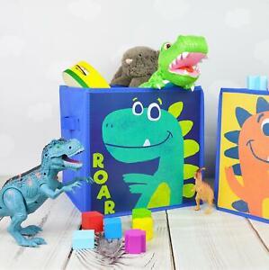 Kids Dinosaur Storage Cube Orange Green Space Saver Home Tidy Box Toys Set Of 2