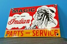 Vintage Indian Motorcycle Porcelain Gas Native American Magic Parts Service Sign