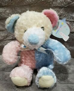 """First & Main Nubby Baby Rattle Lovey Teddy Bear Plush Toy Pastel Pink Blue 8""""NWT"""