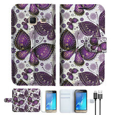 Purple Butterfly Phone Wallet Case Cover For Samsung Galaxy J1 Mini-- A017