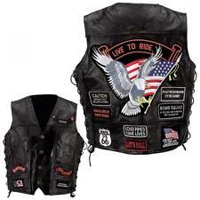 Gilet cuir biker avec 14 patchs /  aigle