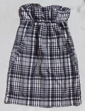 AMERICAN EAGLE Navy Blue White Plaid Cotton Strapless Zip Dress sz XS 0 Pockets