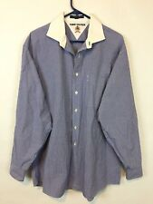 Tommy Hilfiger White Collar Blue Gingham Button Front Dress Shirt / 16.5 34-35