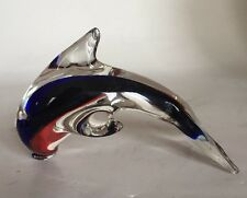 Glass Jumping Dolphin Hand Blown Blue / White / Clear