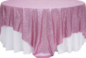 """Sequin Overlay 54"""" × 54"""" Sparkly Shiny Tablecloth Design 4 COLORS WEDDING Party"""