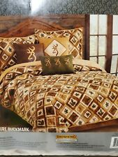 Browning Buckmark F/ Q with 2 pillow sham Nature Cabin Rustic Leaves Deer Lodge