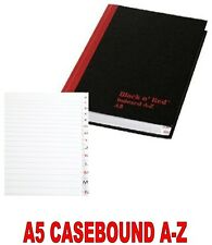 Black n Red Casebound Book A5 Index A-Z 192 pages.